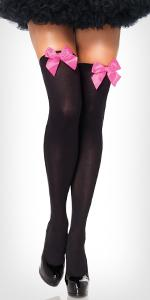 thigh high, bow, pink