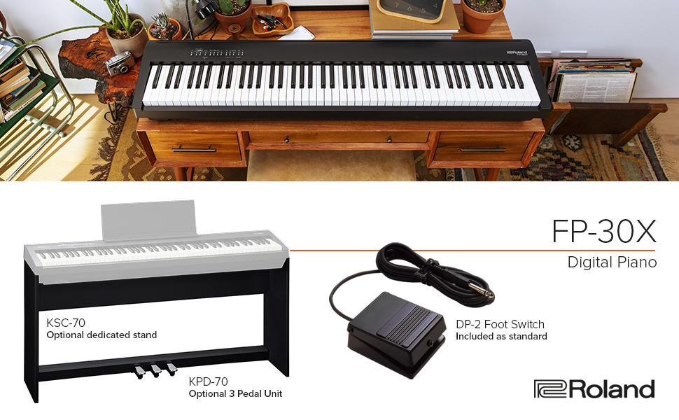 Roland Piano Digital portátil, Negro (FP-30X-BK): Amazon.es ...