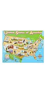 Amazon Com Melissa Doug Wooden Usa Map Puzzle Wipe Clean