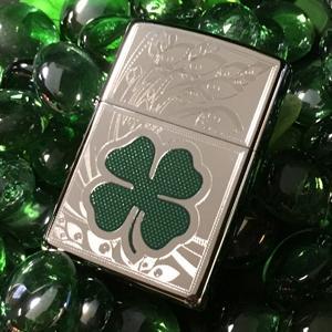 clover lighters, irish, irish lighter, zippo, zippo lighters, four leaf clover, high polish chrome