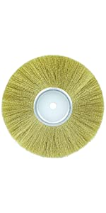 Weiler Plater's Crimped Wire Wheel.005quot; Brass Fill, 1/4quot; Arbor Holew Face Crimped Brass Fill