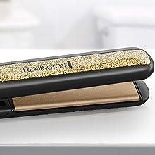 ceramic plate flat iron straightener reduce frizz smooth hair even heat distribution