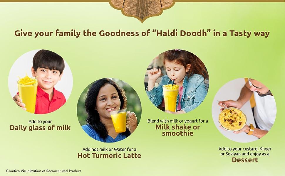 Haldi doodh;haldi milk powder;milk powder;baby milk powder;badam powder mix for milk