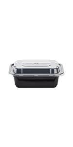Karat 12 oz Black PP Microwavable Rectangular Food Containers amp; Lids