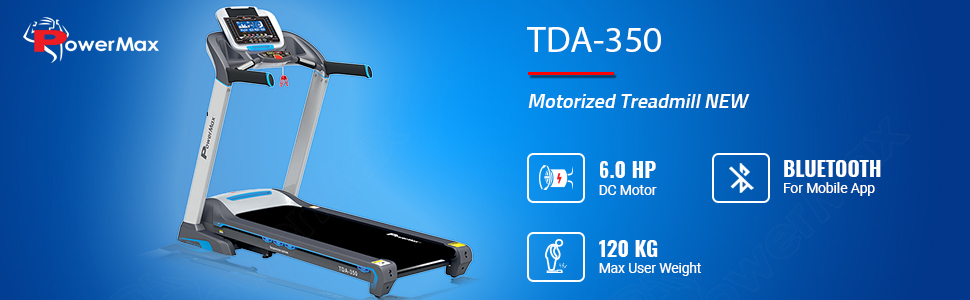 PowerMax Fitness TDA-350 (3.0 HP) LCD Display with 400m Track UI & Treadmill for Cardio Workout