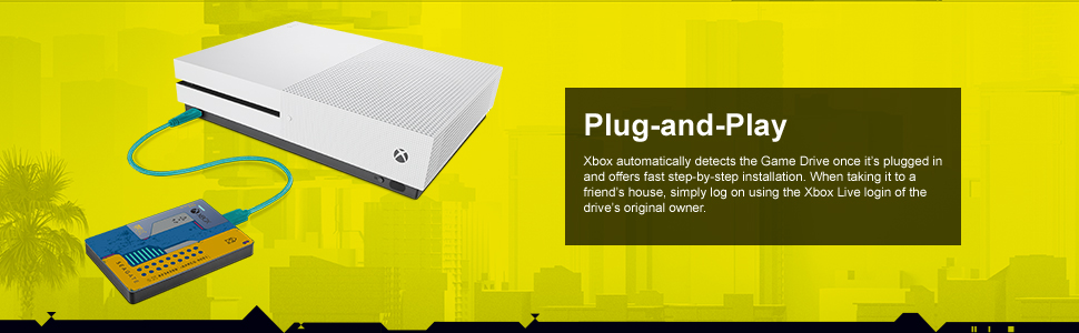 game drive for xbox, cyberpunk 2077, plug and play, portable external hard drive, hdd, seagate