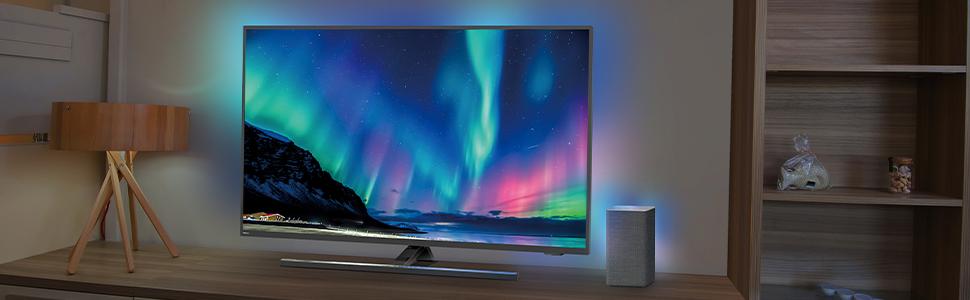 Mod/èle 2020//2021 Philips W6505//10 Enceinte Wi-Fi Multiroom Domestique Sans Fil 80 W, Compatible DTS Play-Fi, Fonctionne avec Assistants Vocaux, LED Int/égr/ée, Ambilight, Son St/ér/éo