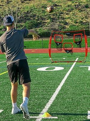 gosports football quarterback target throwing net accuracy aid coach camp snap drill toss bow net