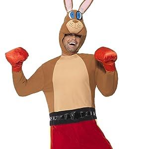 Känguru-Boxer-Kostüm Jumpsuit mit Shorts und Schwanz Handschuhe und Kopfteil