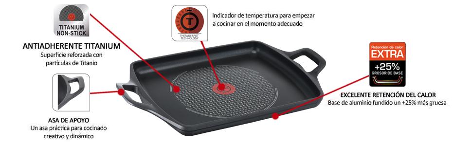Tefal Aroma - Plancha 32 x 26 cm aluminio fundido, antiadherente revestimiento de titanio, aptas para todo tipo de cocinas, base gruesa adecuada para ...
