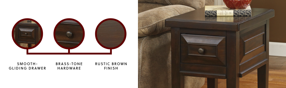 Signature Design By Ashley T695 7 Ashley Furniture Hindell Park Chair Side End Table 1 Drawer Vintage Casual Rustic Brown Amazon Ca Home Kitchen