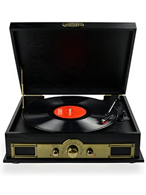 mbeat vintage wood turntable front view