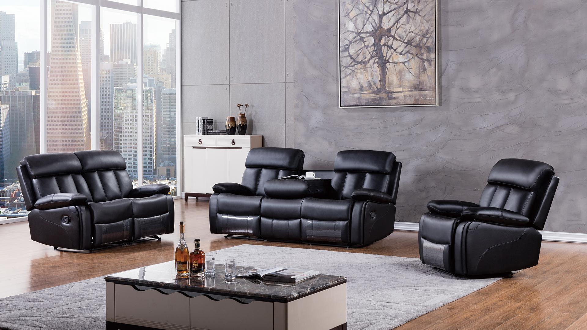 American Eagle Furniture 3 Piece Dunbar Collection Complete Faux Leather Reclining
