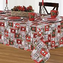 elrene home fashions christmas holiday poinsettia tablecloth
