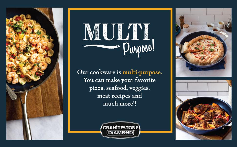 mini purpose, cookware, blue granitestone, non-stick, non toxic, strong