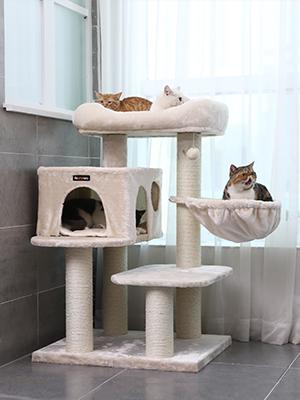 FEANDREA Árbol para Gatos, con Plataforma de Observación XXL, Tumbona de la Cesta y Cueva Grande, Postes Gruesos Envueltos en Sisal, Estable, Beige ...