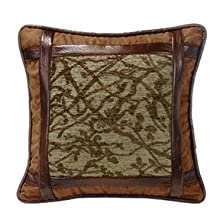 Framed Tree Pillow with Faux Leather Detail