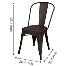 GIA MC45K-ANTIBK_DWOOD_4 High Back Metal Chair, Pack, Antique Black, Dark Wooden Seat
