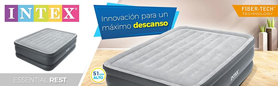 Intex 64140 - Colchón hinchable Dura-Beam Standard Essential 152 x 203 x 51 cm