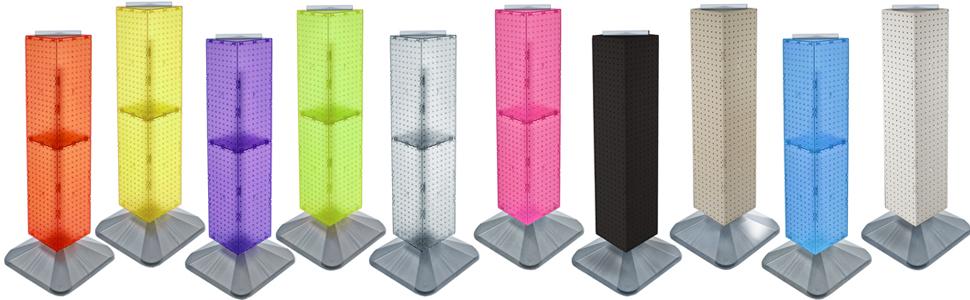 Pink Translucent Azar Displays 703387-PNK Standard Four-Sided Interlocking Pegboard Tower