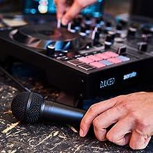 micrófono, micro, entrada de micrófono, equilibrada, controladora de dj