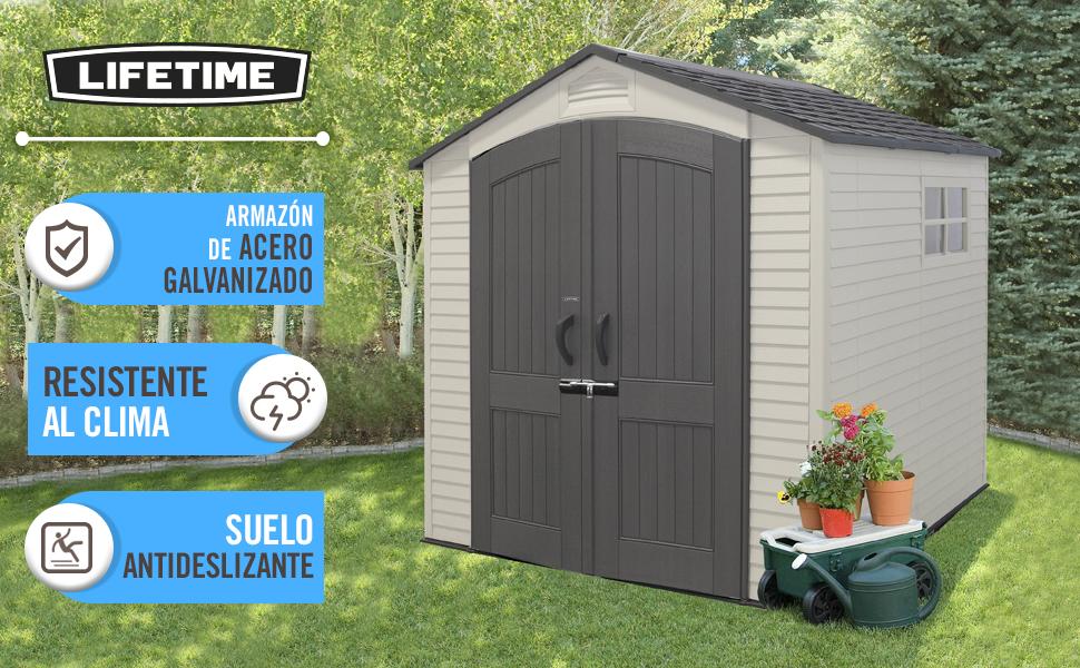 LIFETIME 60190 - Caseta jardín resistente con ventana 214x213x227 cm UV100: Amazon.es: Jardín
