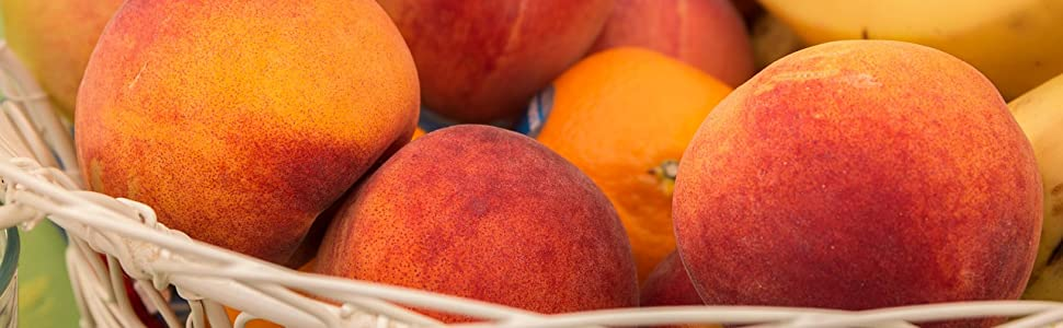 Whole peaches basket fruit