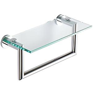 glass shelf with towel bar