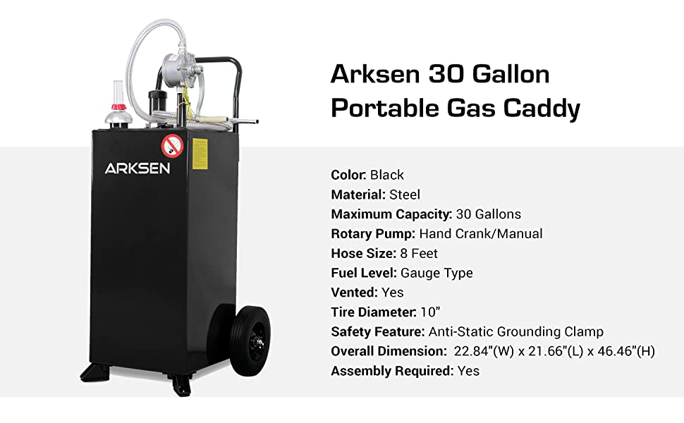 Arksen 30 Gallon Portable Fuel Transfer Gas Can Caddy Storage Gasoline Tank Heavy Duty 30-Gallons Capacity Black