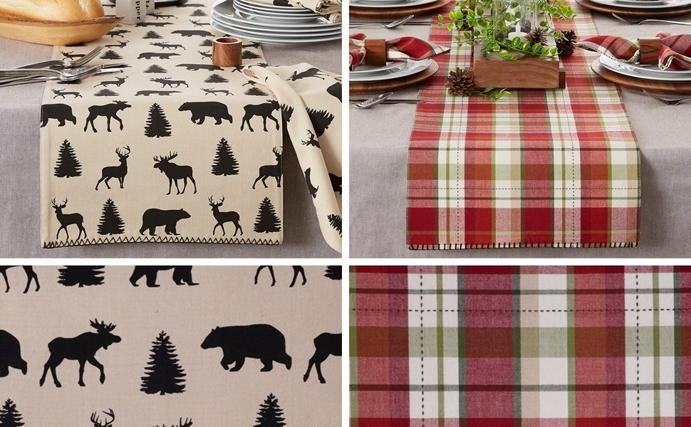 Side by side comparison of the reversible Mountain Trail Plaid Embellished Table Runner on a table.