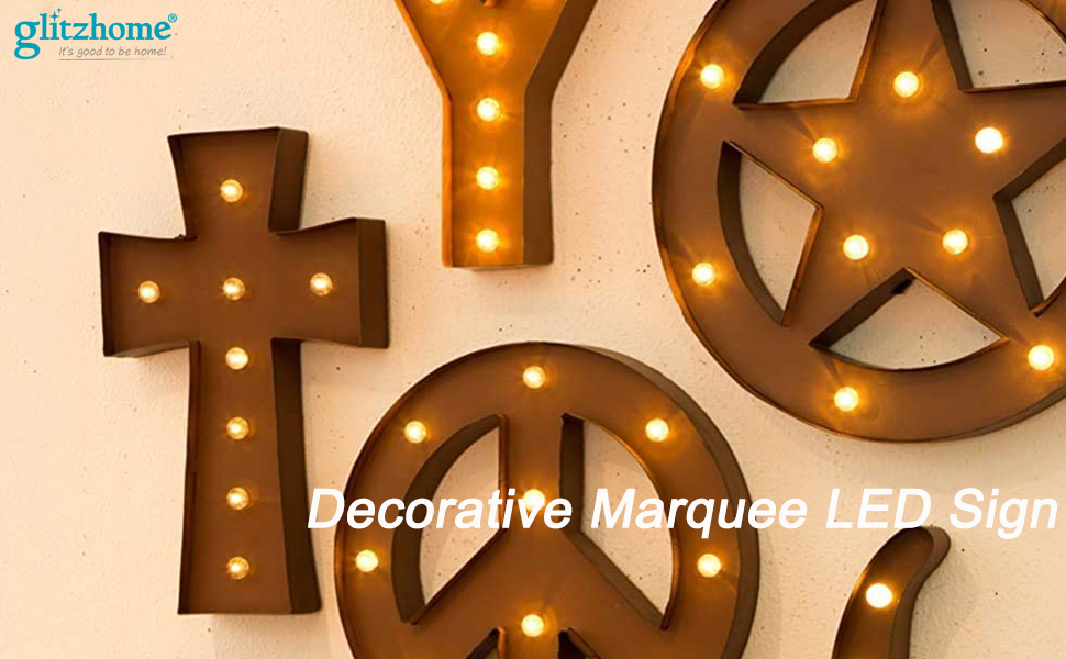 Large LED Light Up Table Symbol Metal Marquee Star Sign Rustic Decorative Prop