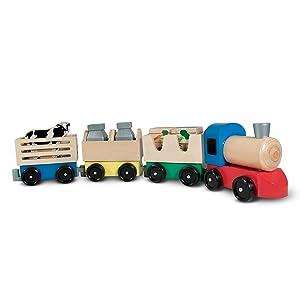 Amazon Com Melissa Doug Wooden Farm Train Set Melissa Doug Toys Games