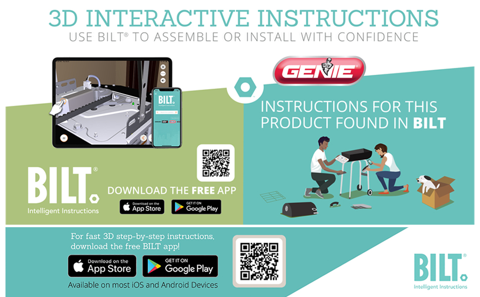 Genie garage door openers are easy to install with the 3D BILT App