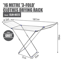 16 Metre '3-Fold Wing' Clothes Drying Airer Rack : Durable steel finish