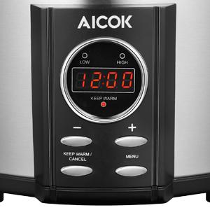 AICOK Olla de Cocción Lenta, 6.5l Slow Cooker Temporizador Digital y 3 Configuraciones de Temperatura, Olla Coccion Lenta Tapa de Vdrio y Olla de Cerámica, Plata, 315W (6.5 litros): Amazon.es: Hogar