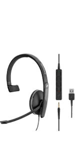 Sennheiser SC135 USB Wired Headset UC optimized Skype for Business single-sided in-line call control