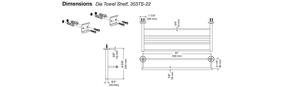 "Symmons Chrome 24/"" Towel Bar 353TB-24 N.I.B."