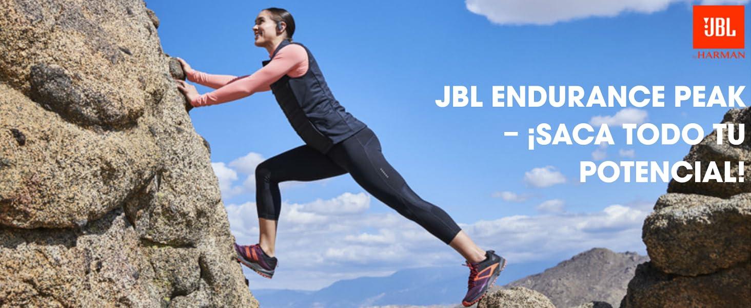 JBL Endurance Peak Auriculares intraurales con Bluetooth para deporte, resistentes al agua, con micrófono y manos libres, batería de hasta 4h con ...