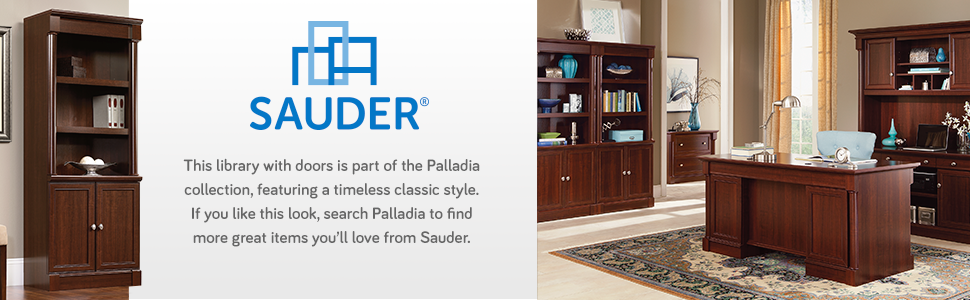 Sauder Palladia Library with Doors Select Cherry Amazon Home