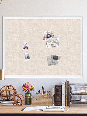 white linen cork board home office organization
