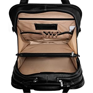 """Black 15"""" Leather Vertical Patented Detachable -Wheeled Laptop Briefcase oppenned to show inside"""