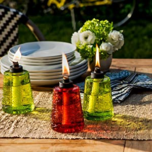 Glass Table Torches   3 Pack