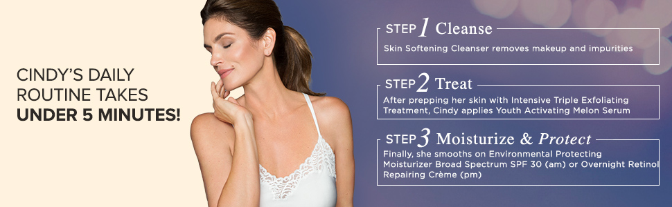 cindy crawfords daily routine step 1 cleanse step 2 treat step 3 moisturize & protect