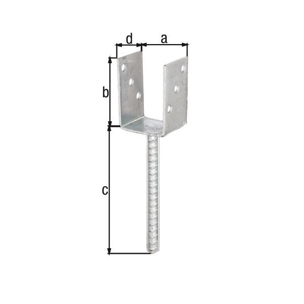 GAH-Alberts 214234 U-Pfostenträger mit Betonanker aus Riffelstahl -  feuerverzinkt, lichte Breite: 71 mm