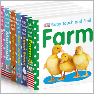 A collection of some of the books in DK's Baby Touch and Feel series