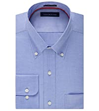 Tommy Hilfiger Men's Regular Fit Non Iron Solid Button Down Collar
