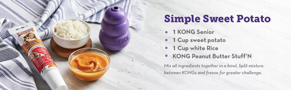 KONG Senior recipe with sweet potato KONG peanut butter and rice