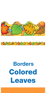 Classroom bulletin board border showing colorful Autumn leaves