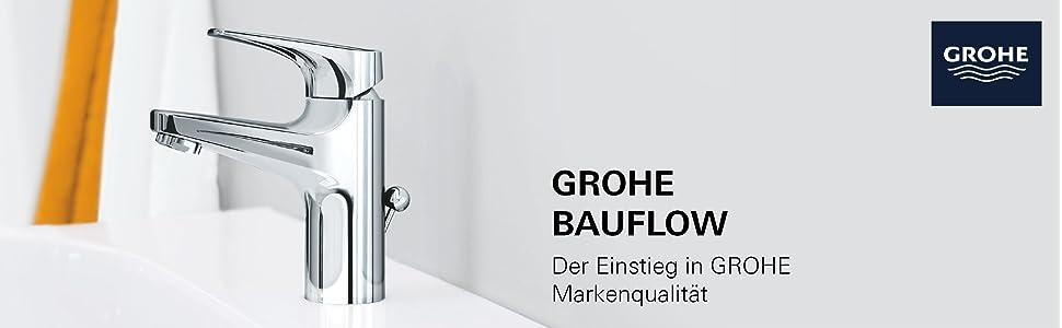 grohe bauflow bad waschtischarmatur l size mit zugstange 23753000 baumarkt. Black Bedroom Furniture Sets. Home Design Ideas