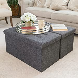 Amazon Com Seville Classics 31 5 Foldable Tufted Storage Bench Ottoman Footrest Toy Chest Coffee Table Trunk Seat Stool 2 Pack Modern Gray Home Kitchen